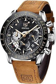 BENYAR Montre pour Hommes Chronographe Quartz Cadran Squelette Bracelet en Cuir 30M étanche Montre Militaire de Sport de M...