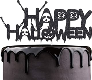 Happy Halloween Cake Topper - Black Glitter Spooky Ghost Skull Cake Décor - October Holidays Kids Birthday Party - Halloween Party Decoration