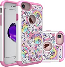iPhone 7 Case, iPhone 8 Bling Case, Rainbow Unicorn Pattern Heavy Duty Shockproof Studded Rhinestone Crystal Bling Hybrid Case Silicone Protective Armor for Apple iPhone 7 iPhone 8