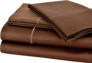 Impressions 600 Thread Count 100% Cotton, Deep Pocket, Queen Bed Sheet Set with Embroidered Stitch, Mocha