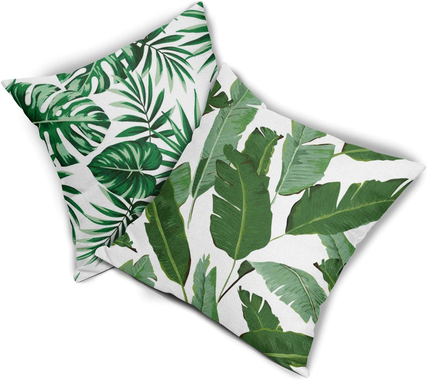 Buy Green Palm Leaf Throw Pillow Covers Set of 20 Tropical Banana ...