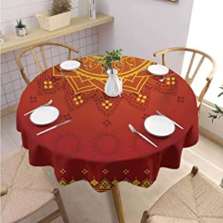 Polyester Round Tablecloth Lotus Quick Drying Arabesque Background with Moroccan Traditional Featured Symbolic Boho Effect,Round – 67 inch Marigold Orange