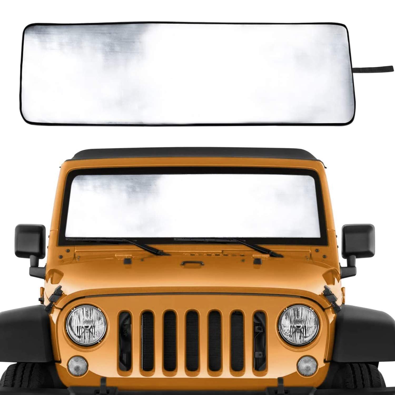 MOEBULB Front Windshield Sunshade Window Sun Shade Foldable Sun Visor Heat Shield Mat Compatible for 2018 2019 2020 Jeep Wrangler Rubicon Sahara JL 2//4 Doors