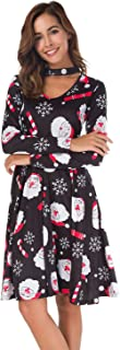 Roshop Women's Choker V-Neck Christmas Pattern Long Sleeve Flared re Swing Cocktail Dress