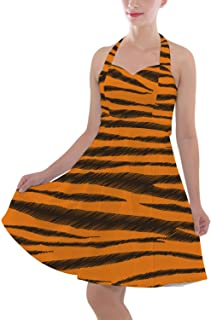 Rainbow Rules Tigger Stripes Winnie The Pooh Inspired Halter Vintage Style Dress