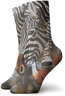 Luxury Calcetines de Deporte Drinking Zebra Women & Men Socks Soccer Sock Sport Tube Stockings Length 11.8Inch