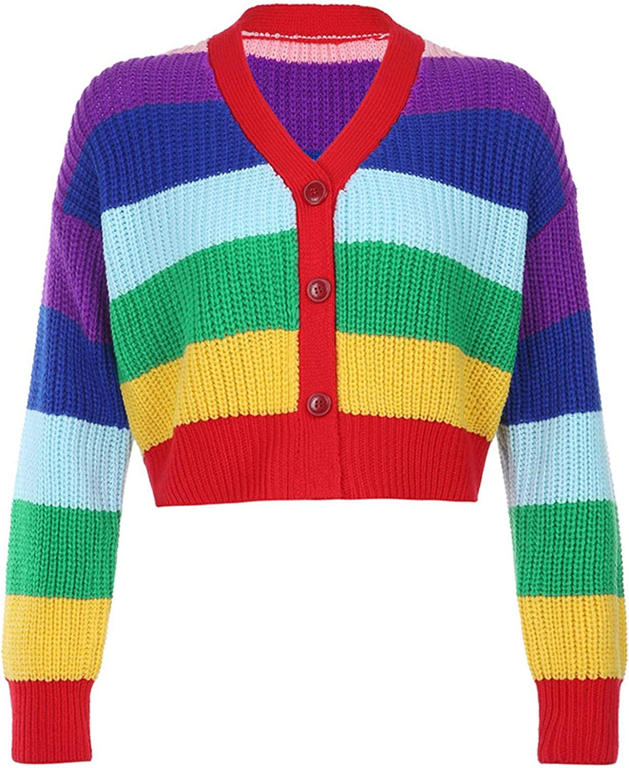 NC Women's Ins European and American Style Y2k Multicolored Cardigan Buttoned Knitted Jacket Women's Casual Sweater Winter
