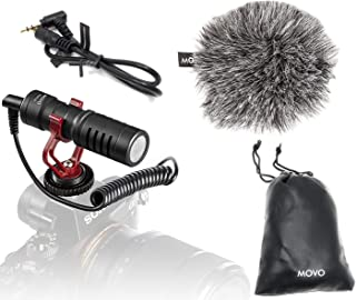 Movo VXR10 Universal Video Microphone with Shock Mount, Deadcat Windscreen, Case for iPhone, Android Smartphones, Canon EO...