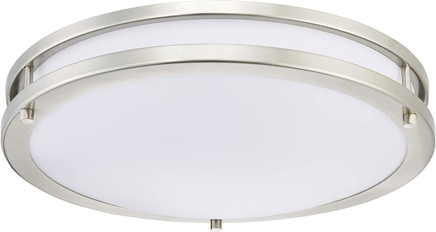 Westinghouse Lighting 6401200 Dimmable LED Flush Mount Ceiling, Brushed Nickel Finish Indoor Light Fixture, 15.75  Semi