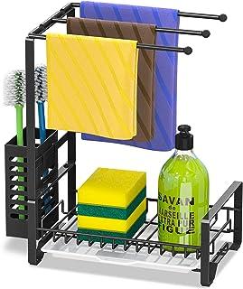 Bextsrack Sponge Holder for Kitchen Sink, Metal Kitchen Sink Caddy Organizer Dish Soap Holder with Drainboard for Kitchen,...