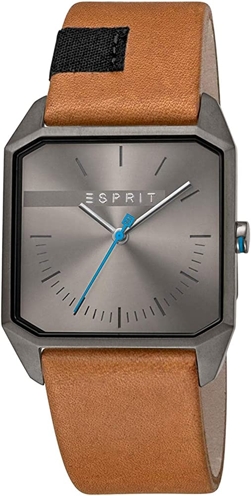 Esprit ,orologio per uomo,con cinturino in pelle e cassa in acciaio inossidabile ES1G071L0025