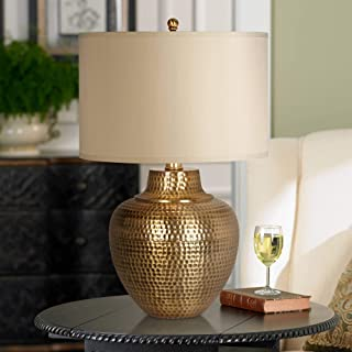 Maison Loft Rustic Farmhouse Table Lamp Hammered Antique Brass Cream Linen Drum Shade for Living Room Bedroom Bedside Nightstand Office Family Traditional - Franklin Iron Works