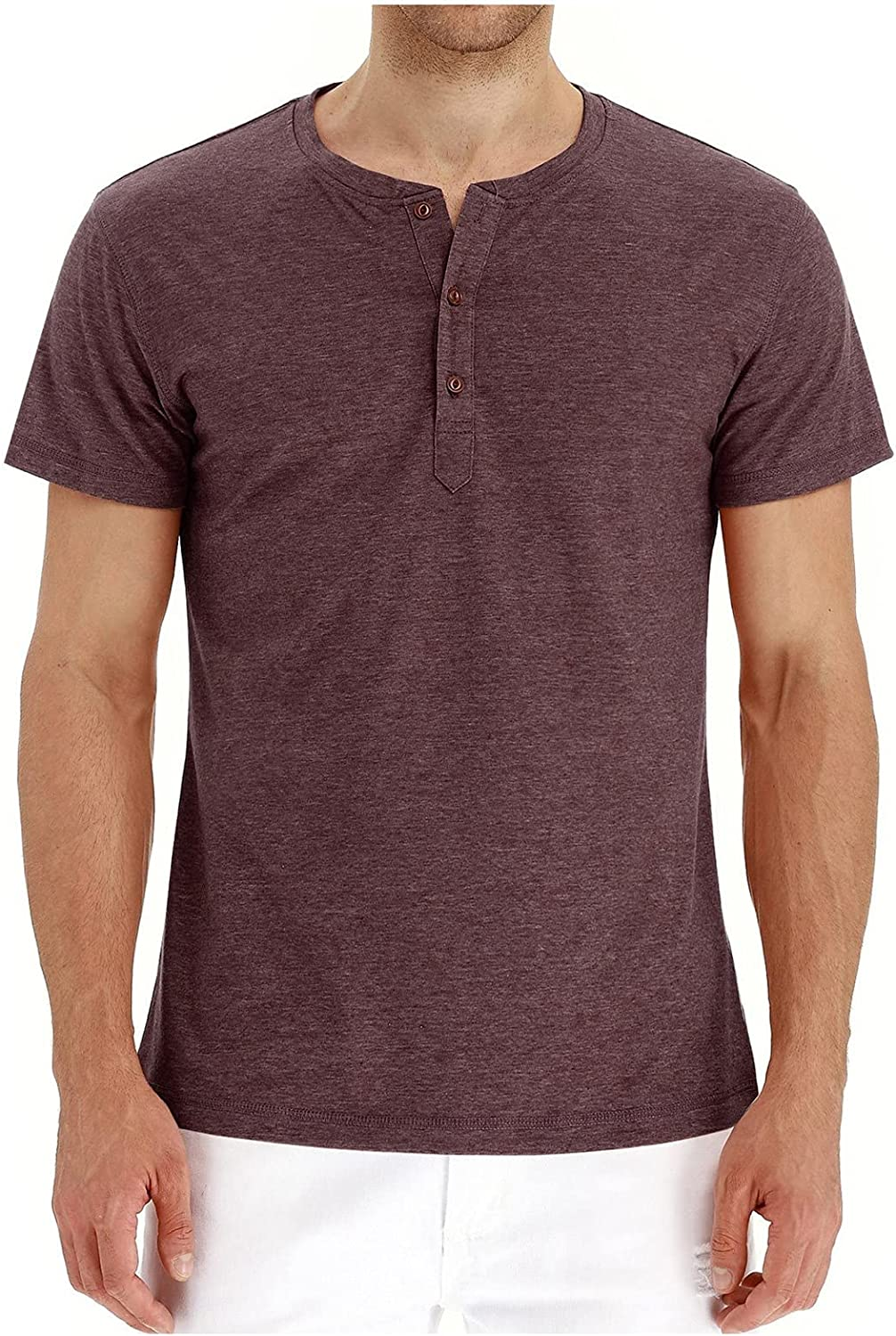 WOCACHI Button Up Henley T-shirts for Mens, Crewneck Basic Short Sleeve Casual Tee Tops Comfy Front Placket Shirts