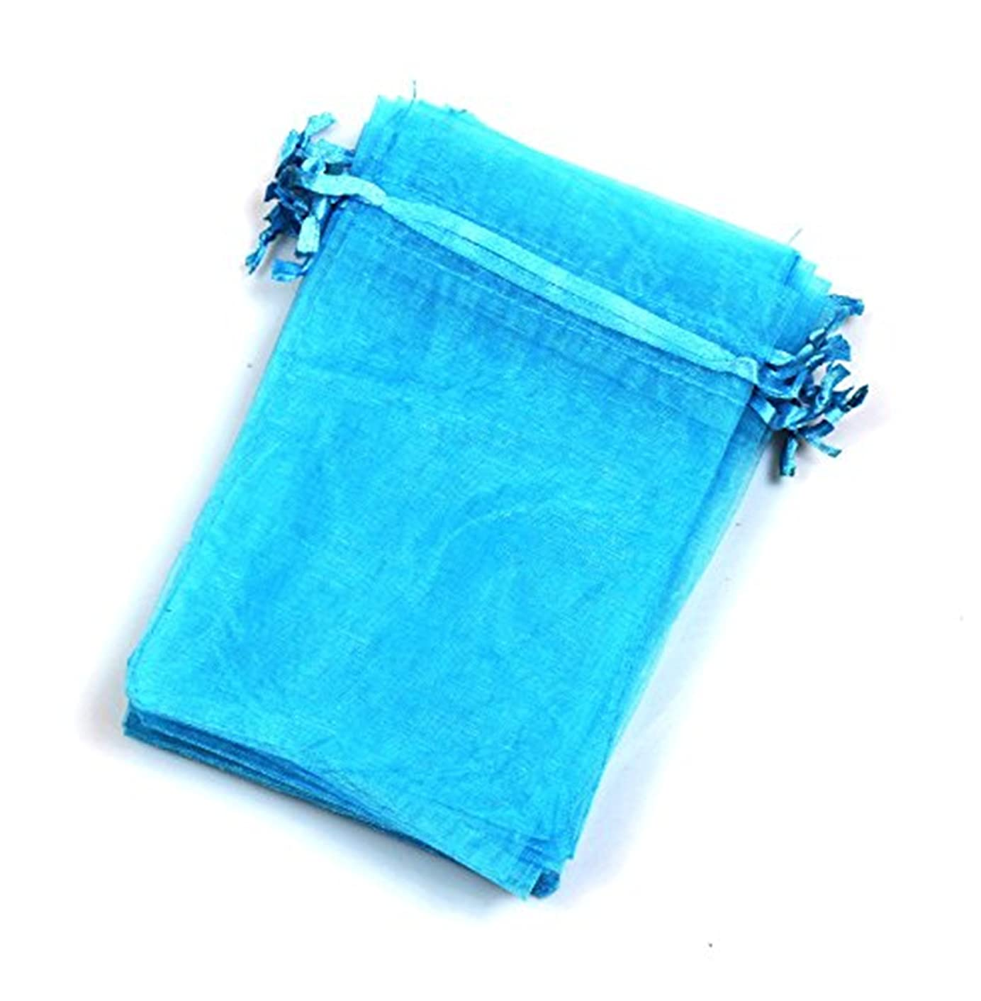 EDENKISS Blue Turquoise Color Drawstring Organza Jewelry Pouch Bags 2.8x3.6 4x6 5x7 Wholesale Option (100, 4x6)