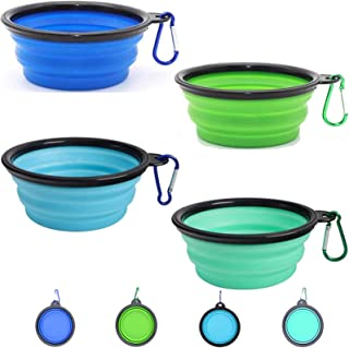 Collapsible Dog Bowls for Travel, 4 Pack Portable Dog Water Bowl for Travel, Silicone Dog Cat Pet Feeding Watering Dish fo...