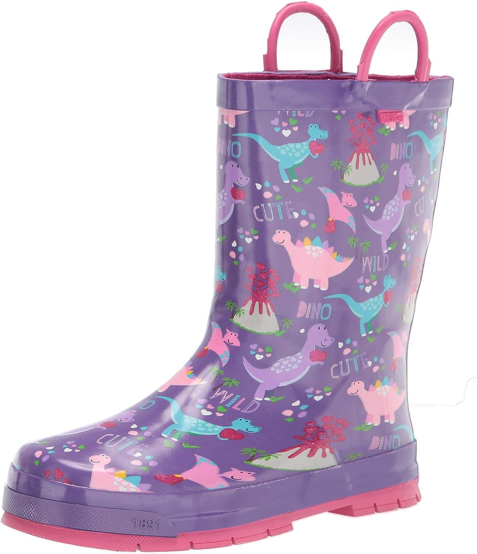 Western Chief Kids Girls Waterproof Rain Boot, Dinos Purple, 6 Toddler