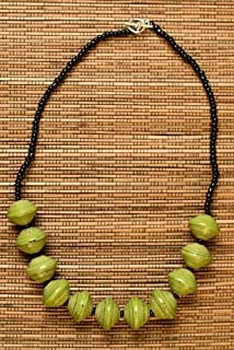 Paper Bead Chunky Asali Necklace - Green - Fair Trade BeadforLife Jewelry from Africa