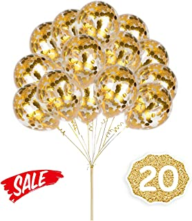 HoveBeaty Gold Confetti Balloons, Round 12'' Party Balloons Latex Transparent Golden Balloons for Wedding, Proposal, Birthday Party Decorations (20 Pack)