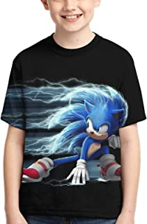 WPORF Sonic The Hedgehog Kids 3D Printed Short Sleeve Summer Tops Tee Shirts for Boys