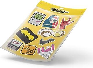 مجموعة ملصقات 4 من ستيكيرات - ملصقات وصور مطبوعة على الورق - مكتوب عليها غيم اوفر، قهوة عربية، رسم باتمان، مشاعر ايجابية، ...