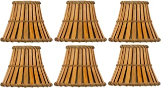 Upgradelights Set of Six Bamboo Style 5 Inch Mini Empire Clip On Chandelier Shades