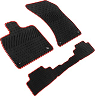 iallauto All Weather Floor Liners Custom Fit for Audi Q5 2017 2018 2019 Heavy Duty Rubber Car Mats Front and Rear Seat Vehicle Carpet-Black Red Odorless