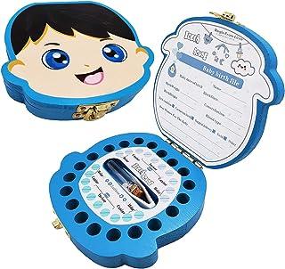 Boîte à Dents de Lait pour Bébé Dents,Boîte à dents pour enfants, boîte de rangement en bois, Boîte à Souvenirs,Cadeau Nai...