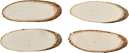 Oval Wood Slices - 4-Piece Natural Unfinished Wood Slices, Large Wood Slices for DIY Crafting Wooden Plaques, Rustic Signs, Natural Signboards, Wedding Decor, Basswood, 12 x 4.4 x 0.5 Inches