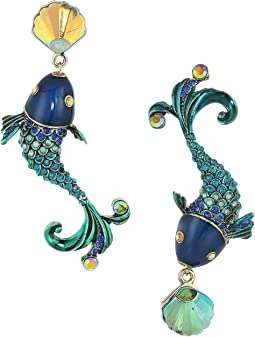Betsey Johnson Colorful Fish Mismatch Drop Earrings