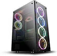 $129 » darkFlash Phantom Black ATX Mid-Tower Desktop Computer Gaming Case USB 3.0 Ports Tempered Glass Windows with 6pcs 120mm LED DR12 RGB Fans Pre-Installed