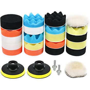 Sealing Glaze Makitoyo 3-inch Car Foam Drill Polishing Pad Kit for Car Sanding 22pieces 3-inch Buffing Pad Set Waxing Buffing 18 Pads+2 Drill Adapters+2 Suction Cups Polishing