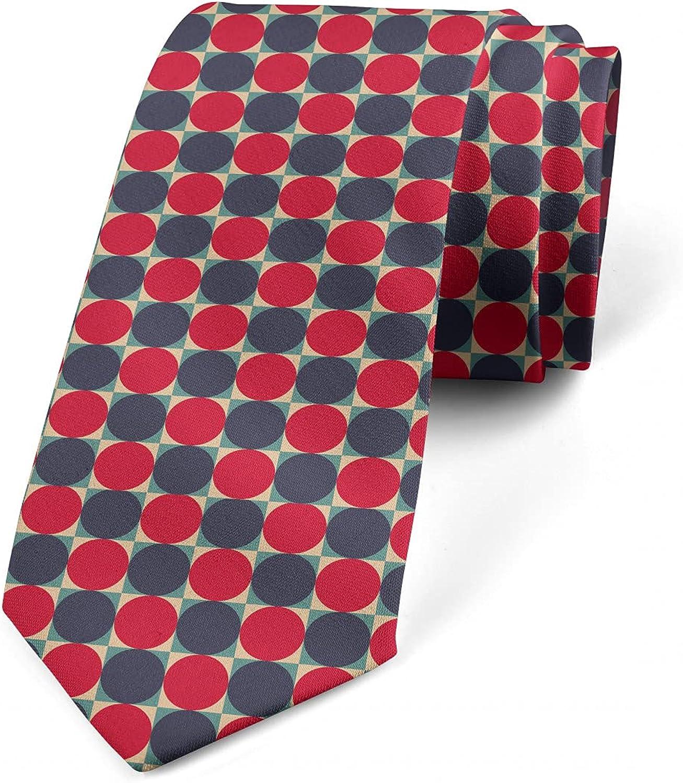 Ambesonne Men's Tie, Circles in Squares Design, 3.7