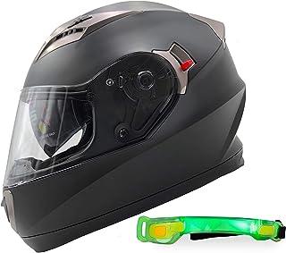 NATHUT Motorradhelm Integralhelm mit Sonnenblende   Motorrad Helm   Bluetooth Ready   ECE (XL 60 62cm, schwarz matt)