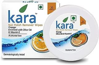 Kara Wipes Nail Polish Remover With Vitamin Removes Nail Polish, Orange (30 Pulls) x (Pack Of 4)