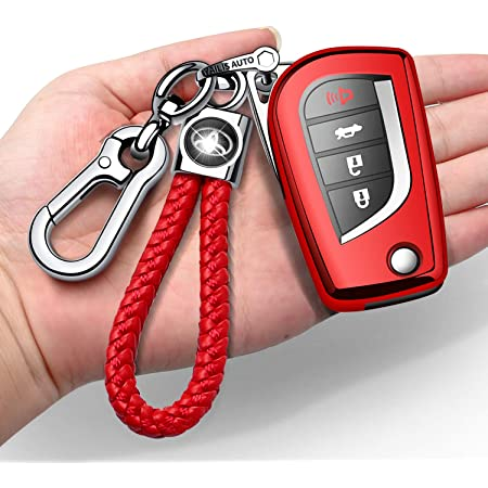 Autophone for Toyota Key Fob Cover with Keychain Soft TPU Key Protector Case Compatible with 2018-2021 Prius RAV4 Camry C-HR Corolla Avalon Smart Key only for Keyless go -Silver