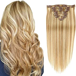 Double Weft Clip in 100% Real Remy Human Hair Extensions Thick Remi Hair Extensions Clip on for Fine Hair Full Head 8 pieces 14inch Silky Straight Strawberry Blonde to Bleach Blonde Hair