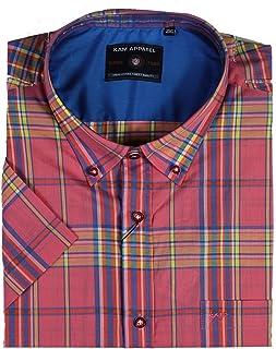 Kam Mens Short Sleeve Cotton Shirt Checked Big & Tall King Size
