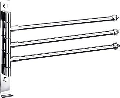 bath&bath タオルハンガー タオル掛け スイングアーム 洗面所 ステンレス タオルバー 壁掛け 省スペース (3本)