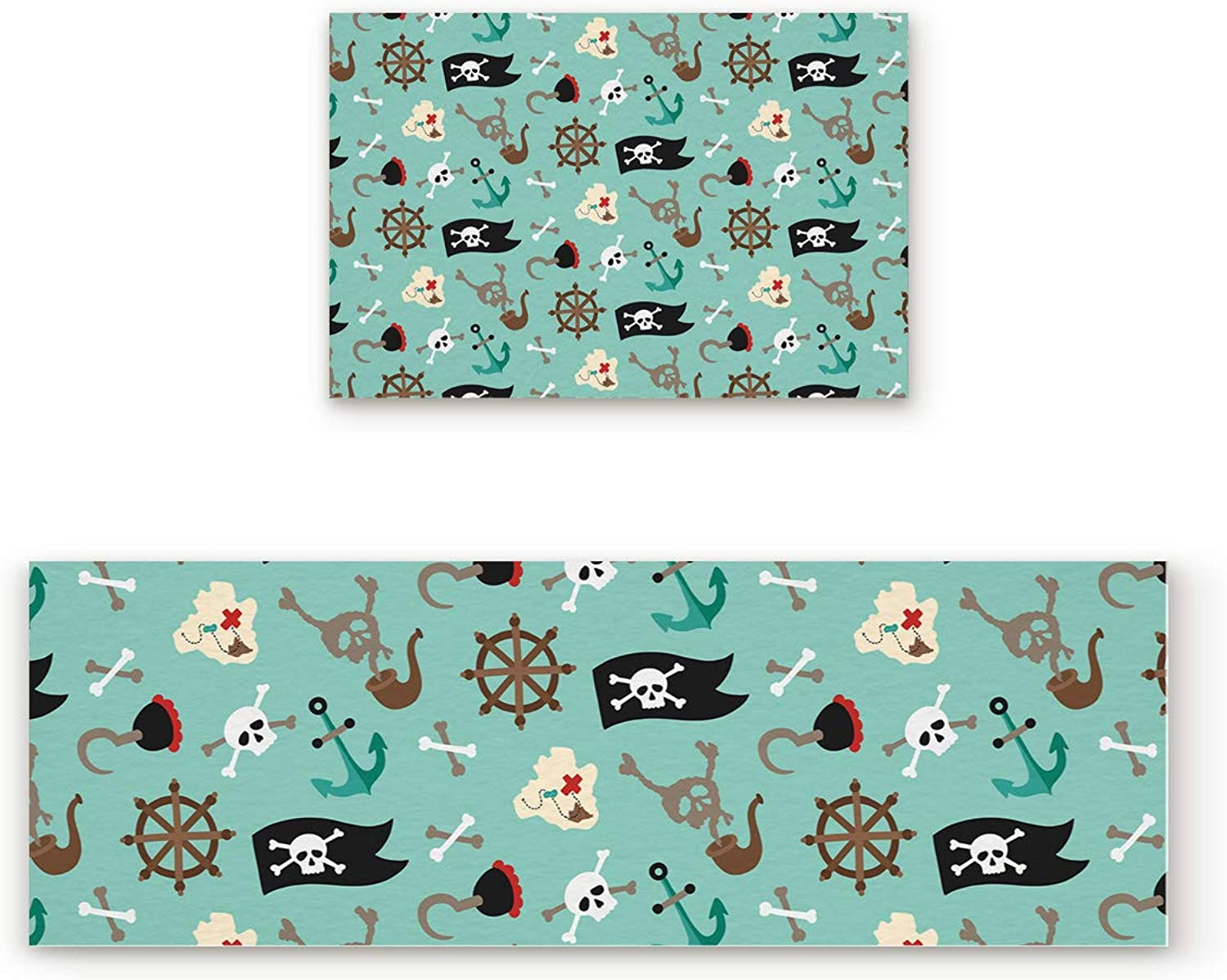 Fantasy Star Kitchen Rugs Sets 2 Piece Floor Mats Pirate Flag Rudder Hook Doormat Non-Slip Rubber Backing Area Rugs Washable Carpet Inside Door Mat Pad Sets (19.7  x 31.5 +19.7  x 63 )