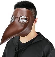 Cusfull Máscara de pico Falsa Piel Plaga Doctor Máscara Disfraz de Halloween Cosplay Steampunk Costume para adulto negro-uno tamaño (marrón)