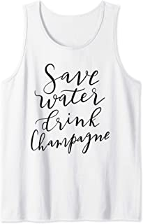 Save Water Drink Champagne Hand Lettered Design Blk Tank Top