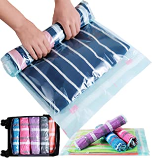 Bagail 8/10 Pack Compression Bags for Travel - 4 Air Out Design Roll-Up Space Saver Storage Bags
