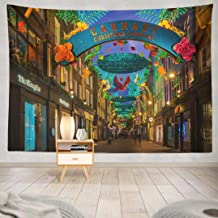 Happyome Christmas Tapestry, Wall Hanging Tapestry London November Christmas Lights Street UK Wall Tapestry Dorm Home Decor Bedroom Living Room in 80X60
