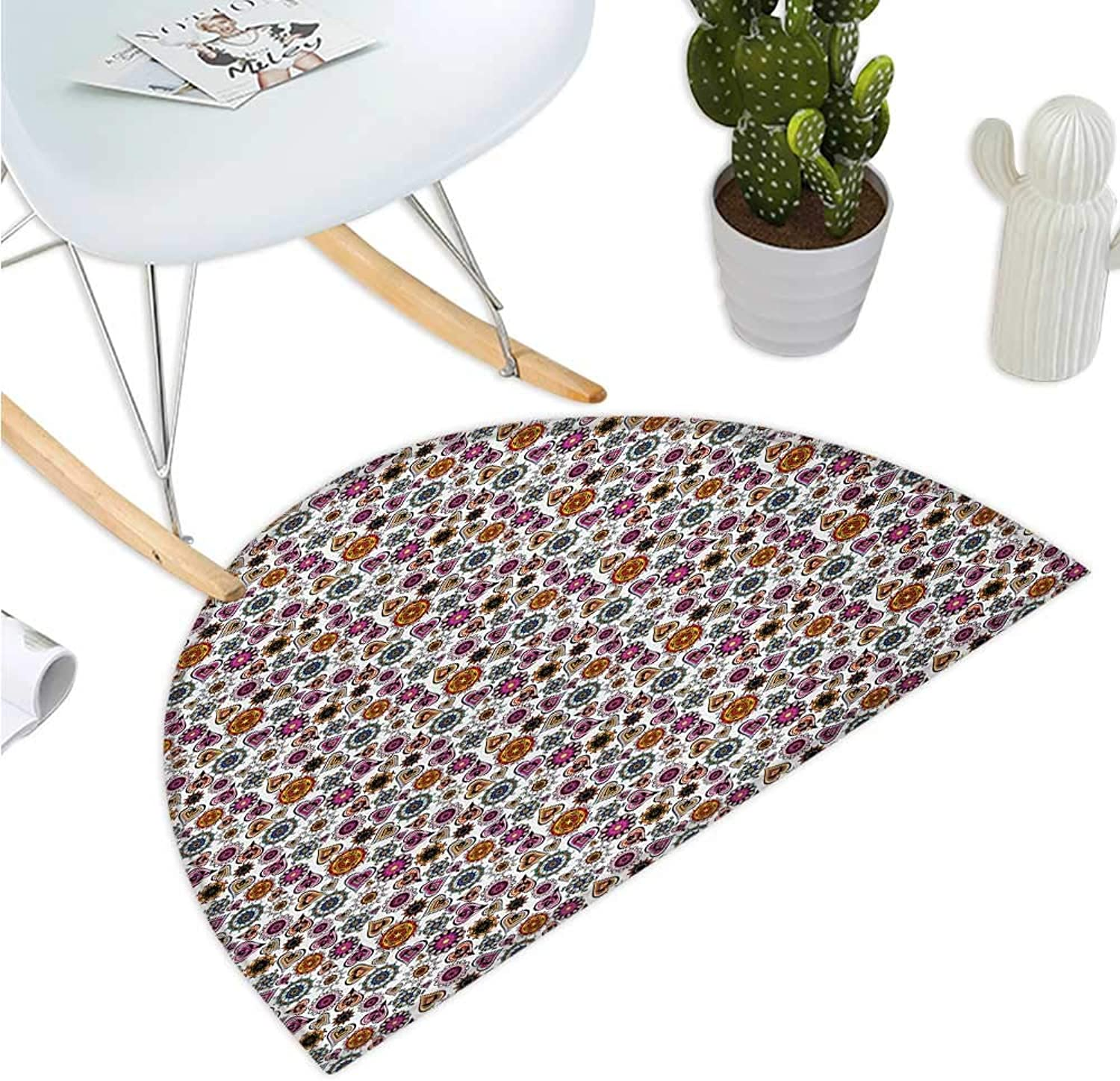Hearts Semicircle Doormat colorful Romantic Shapes with Ethnic Designs Mandala Circles Oriental Inspirations Entry Door Mat H 35.4  xD 53.1  Multicolor