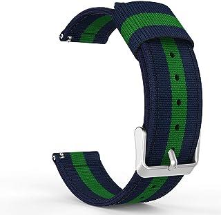 سير ساعة سامسونغ قير س3  فرونتير و كلاسيك، وساعة موتو 360 ، نايلون فاخر، مقاس قابل للتعديل، لون أزرق وأخضر