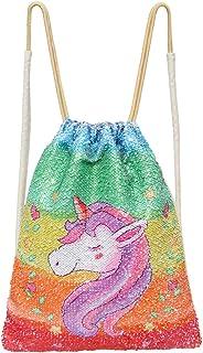 Bolsa de sirena de unicornio con lentejuelas, con cordón, para danza, con lentejuelas, con purpurina, para niños, 35 x 45 cm, arco iris, plata)