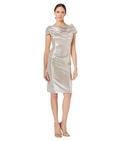 Tahari by ASL Draped Neck Cap Sleeve Stretch Metallic Cocktail Dress (Silver Powder) Women