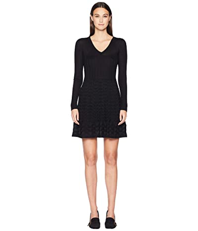 M Missoni Solid V-Neck Dress (Black) Women