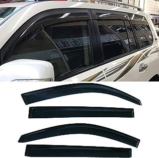 ZR 4pcs fit 2008-2013 Toyota Highlander Window Deflector Rain Wind Sun Vent Shade Guard Visor Dark Smoke Original Outside Mount Style 94063