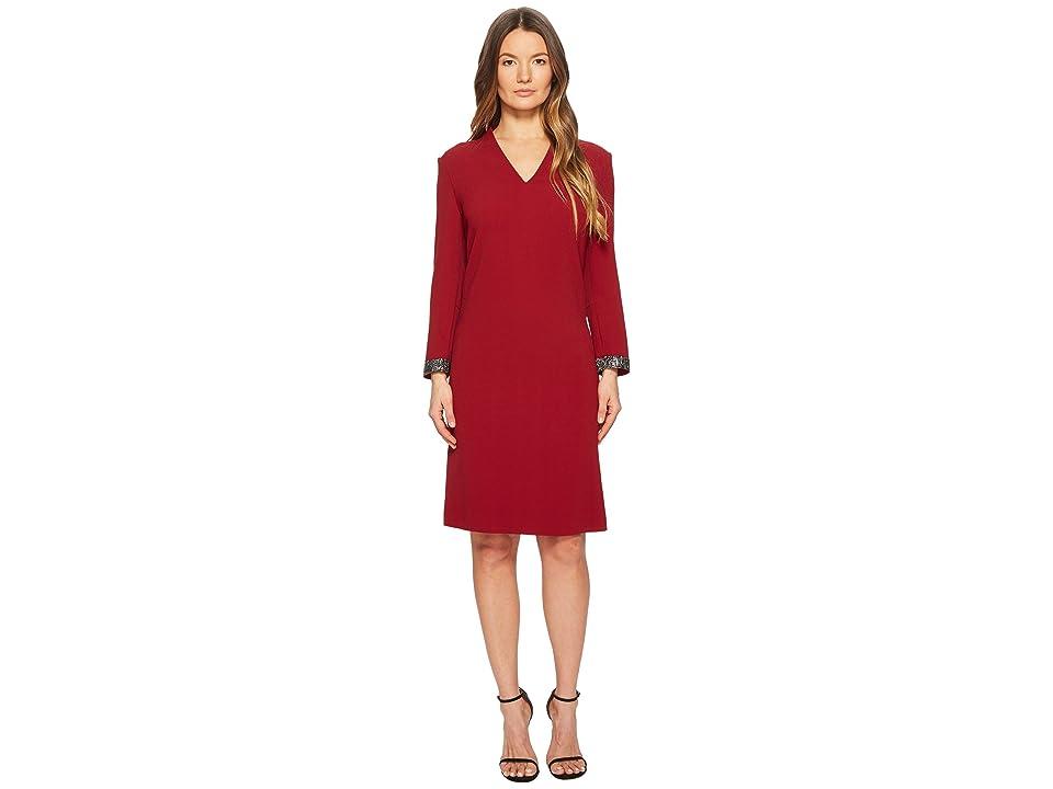 ESCADA Duava Long Sleeve V-Neck Dress (Red) Women